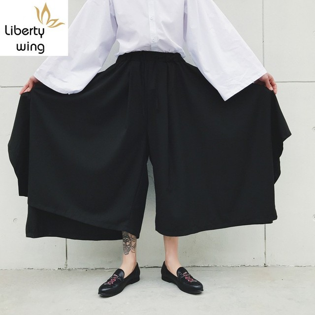 Spring Harajuku Mens Baggy Ankle Length Flare Wide Leg Irregular Pantskirt Loose Fit Elastic Waist Harem Pants Plus Size 1