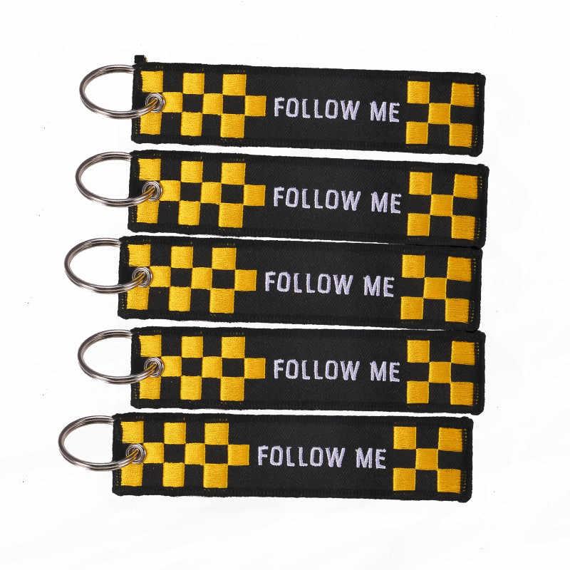 3 unids/lote de moda Sígueme llavero bordado prioridad Portachiavi llavero Suspensión de Sleutelhanger quitar antes del vuelo llaveros