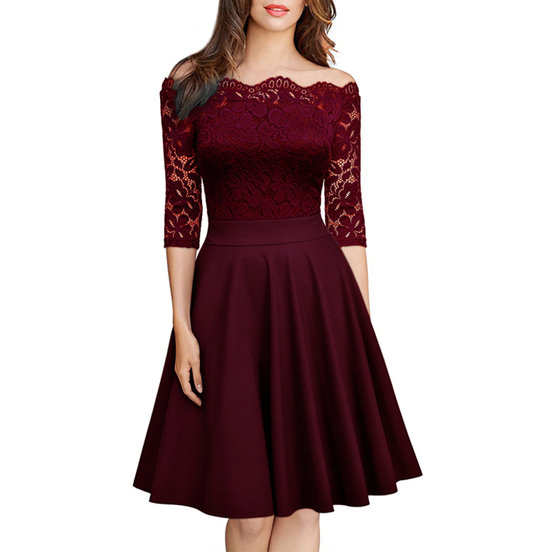 Elegant <font><b>Sexy</b></font> <font><b>Dress</b></font> for <font><b>Women</b></font> Vintage Lace Long Sleeve Wine red Black Blue Robe Femme Casual <font><b>Dresses</b></font> Woman <font><b>Party</b></font> Night 2019 image