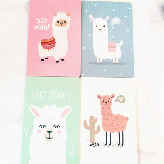 A5 Notebook Agenda 2020 Kawaii Bullet Journal Soft Cover Diary Planner Alpaca Cute Office Stationery Animal Notepad Ruled Paper 2