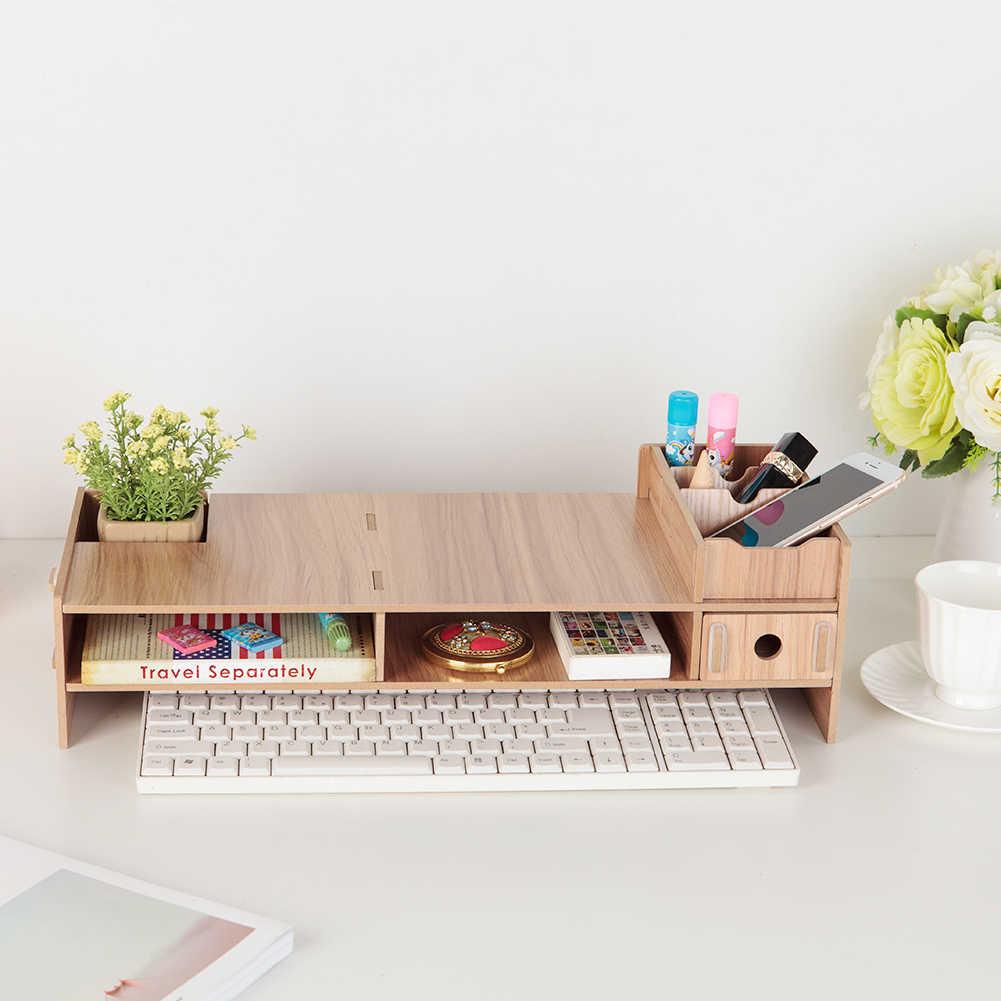 Multifunctional Wood LCD Desktop PC Monitor Riser Stand Desk