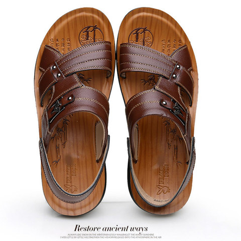 Summer casual shoes men sandals 2019 fashion solid pu leather slip-on indoor & outdoor sandals men shoes slip-on beach man shoes Islamabad
