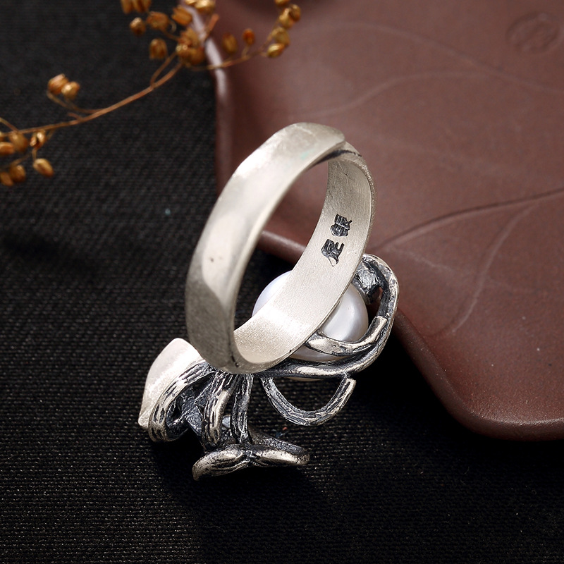 Image 5 - Pearl Rings Natural Freshwater Pearl 925 Sterling Silver Ring Leaves Women Retro Ring Party JewelryRings