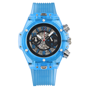 Image 5 - Voll Transparent Uhr Männer Military Klassische Silikon Sport Quarz Chronograph Herren Uhren Top Marke Luxus Uhren Hombre 2019