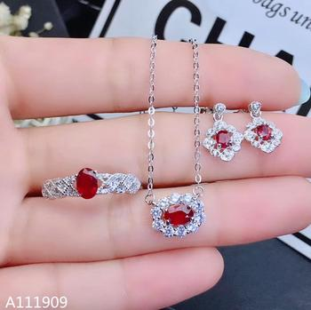 KJJEAXCMY boutique jewelry 925 sterling silver inlaid Natural ruby Ring Necklace Earring Suit Support Detection