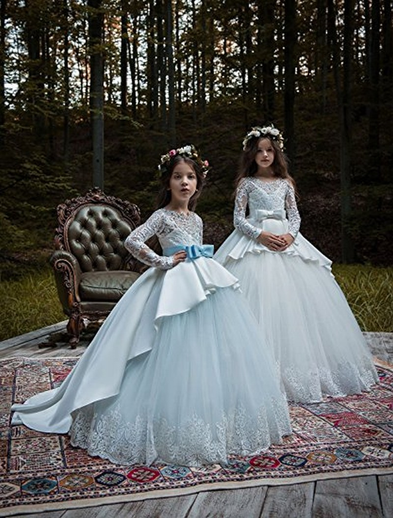 Champagne Tulle Lace Long Sleeve Flower Girl Dresses For Weddings Sweep Train Kids Princess Gown First Communion For Party