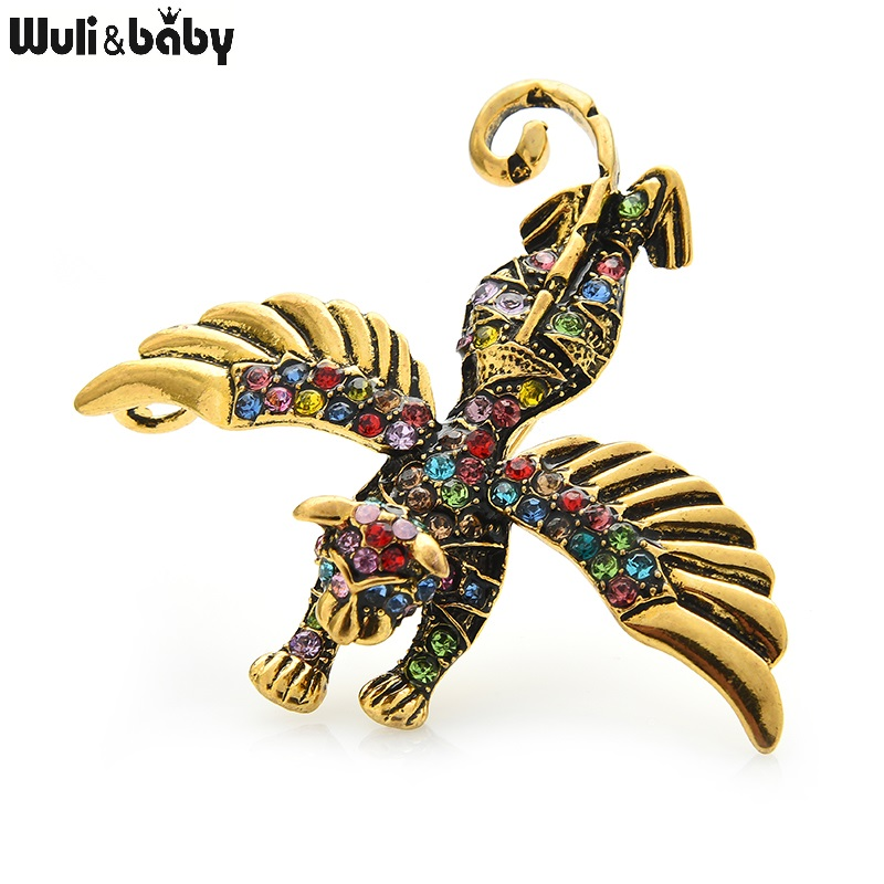 Wuli&baby Rhinestone Angel Cat Brooches Women Unisex 5-color With Wings Flying Cat Party Casual Brooch Pins Gifts