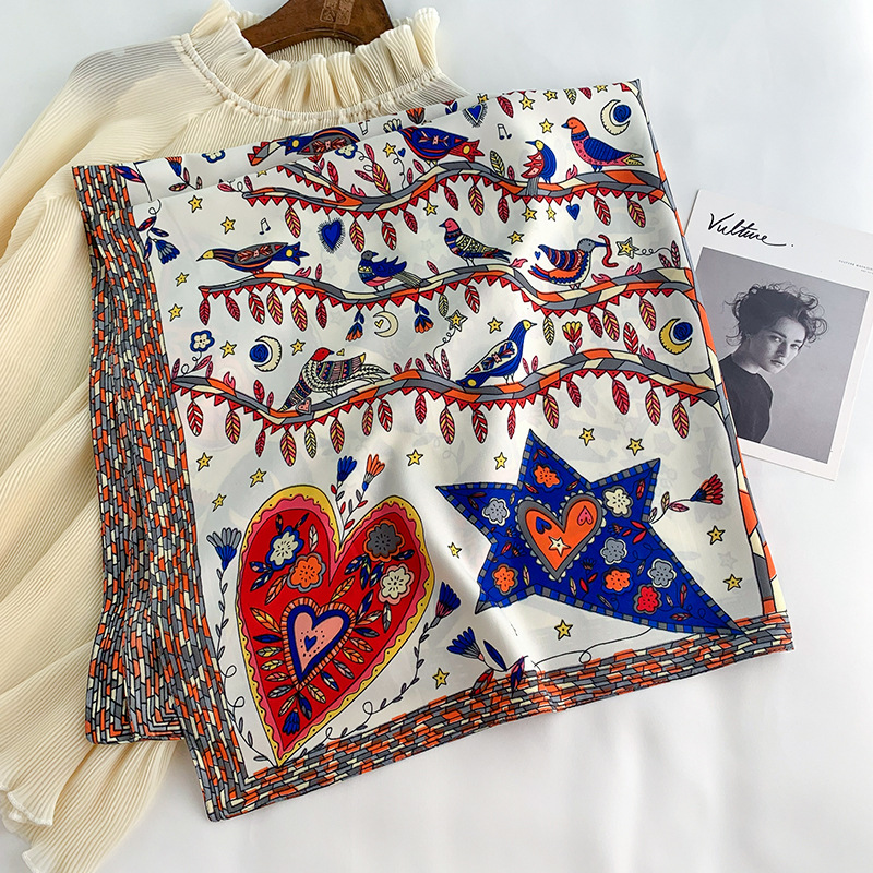 2020 NEW 90x90cm Fashion Women Scarf Feeling Silk Scarf Shawl Scarf Square Heart Star Printed Head Scarves Wraps