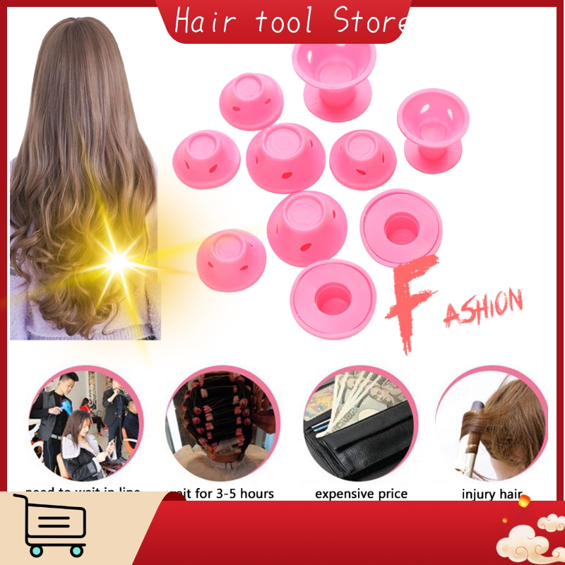 10 Pieces Pink Silicone Hair Curlers Hair Care Reusable Curly Hair Styling Curling Tools for Sleep Suitable for Adult Baby Kids