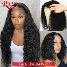 Closure Wig Human-Hair Lace-Front Deep-Curly Brazilian RXY Remy Women 8-26