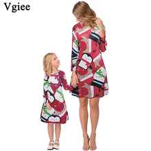 Vgiee Mother Daughter Dresses Christmas Matching Cotton Print Full Pattern for Cartoon Mommy and Me Clothes CC681
