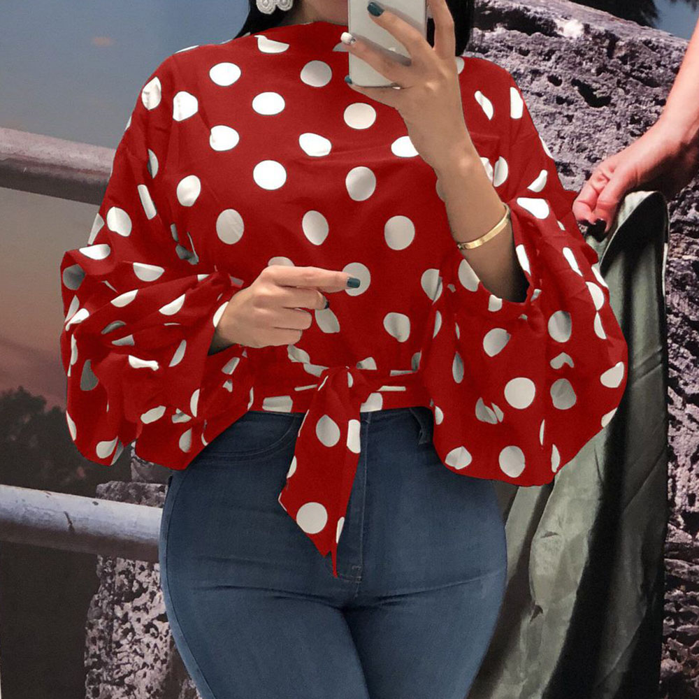 Summer Office Lady Sweet Plus Size Red Elegant Blouses Women 2020 Casual Loose Lantern Sleeve Polka