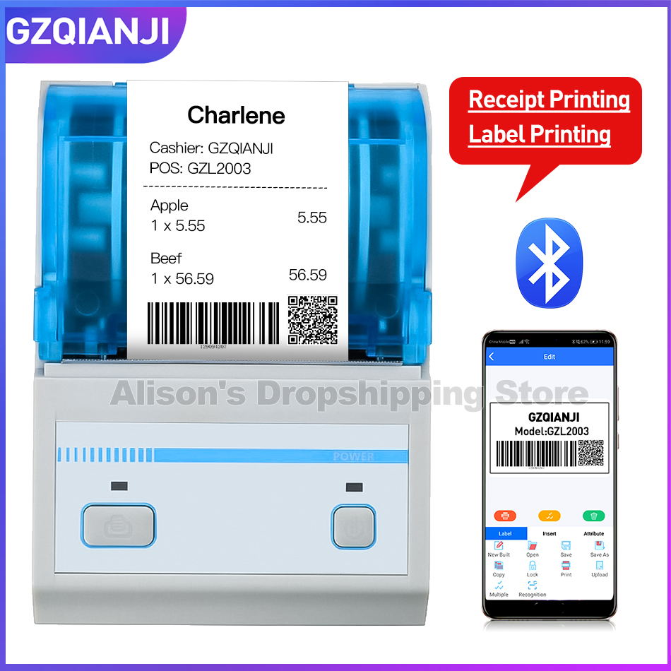 2inch Barcode Label Printer Portable Thermal Bluetooth Printer With Rechargeable Battery For Restaurant, Retail, Small Business