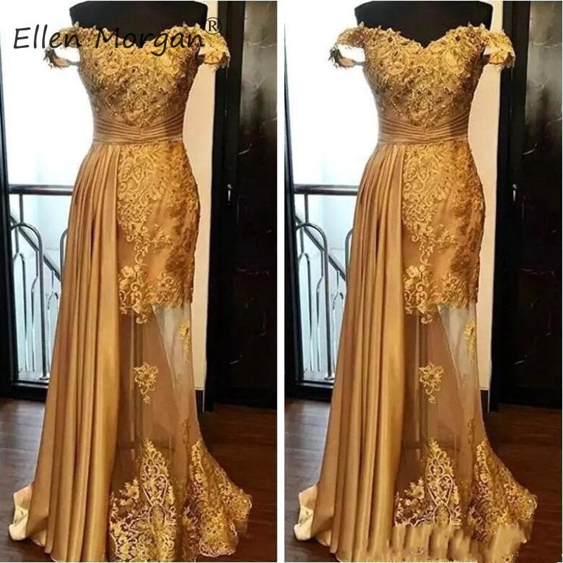 Saudi Arabian Gold Mermaid   Prom     Dresses   Long Real Photos 2019 Sexy Off The Shoulder Satin Tulle Floor Length For Women Party