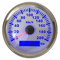 1 Pc Brand New Gps Tachimetro Calibri 0 200Km/H 85 Millimetri Indicatori di Velocità Impermeabile Lcd Velocità Calibri con retroilluminazione Blu 9 32vdc|Tachimetri|Automobili e motocicli -