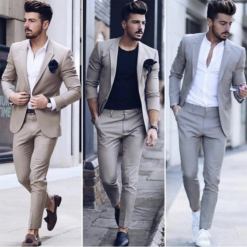 Latest Design Mens Dinner Prom Party Suit Groom Tuxedos Cheap Two Pieces Groomsmen Wedding Suits Custom Made (Jacket+Pants)