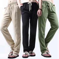 2020 pantalon décontracté homme coton lin taille élastique solide Vintage Joggers pantalon droit ample hommes entraînement Streetwear 4XL