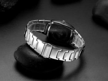 Full Steel Steel Rectangle Couple Watch Set  1