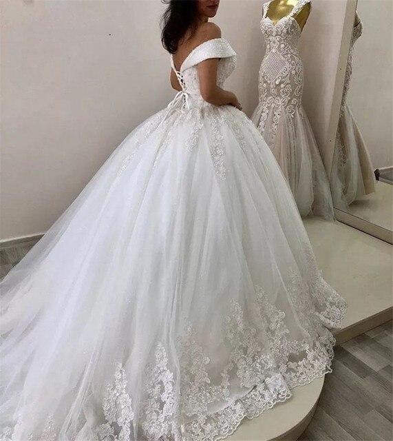 Luxury Crystal Beads Princess Wedding Dresses Lace Applique V Neck Off Shoulder Bridal Gowns With Lace Up Back vestido de noiva 2
