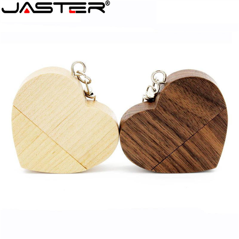 JASTER Wood Heart USB Flash Drive Memory Stick Pen Drive 64GB 16GB 32GB Flash Drive Wedding Gift Photography Gift 1PCS Free Logo