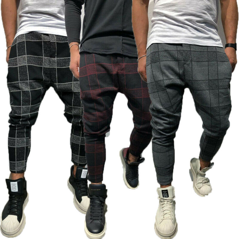 Mens Slim Fit Stretch Flat-Front Skinny Pants Plaid Men Fashion Slim Fit Straight Leg Trousers Casual Pencil Jogger Cargo Pants