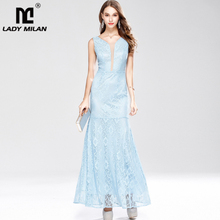 Lady Milan Womens Party Prom Sexy V Neck Sleeveless Patchwork Embroidery Lace Elegant Long Casual Dresses