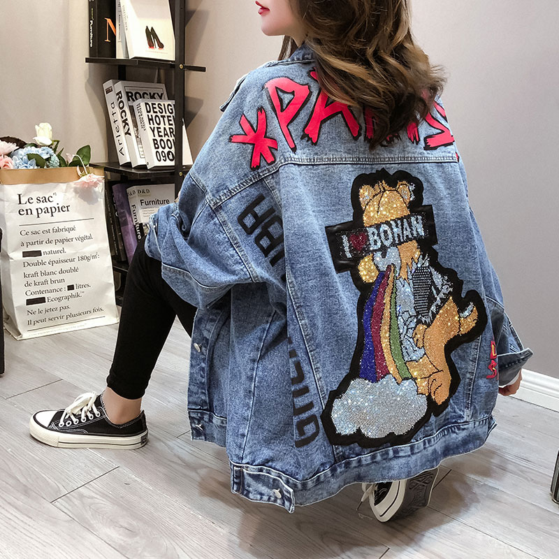 2020 New Spring and Autumn Street Style Holes Denim Jackets for Women Cartoon Diamonds Jean Coats and Jackets Ripped Winbreaker