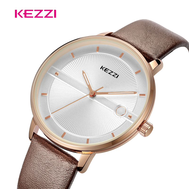 KEZZI Men Women Business Waterproof Watch Clock Fashion Casual Quartz Leather Watch Couple Watch For Loves