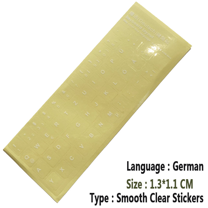 SR Clear Smooth Keyboard Stickers Letter 6 Language Russian German Spain Italy English Japan for Computer Laptop Accessories-5