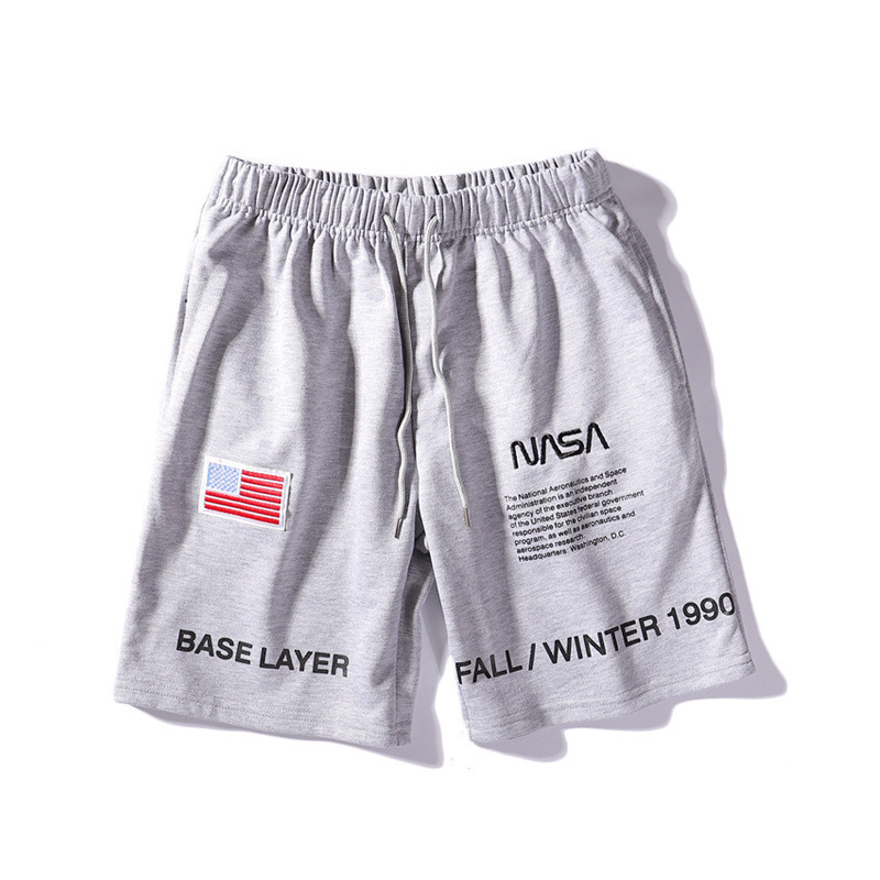 Cross Border Supply Of Goods Men Summer Wear NASA Joint America National Flag Embroidered Astronaut Shorts Casual Pants Shorts