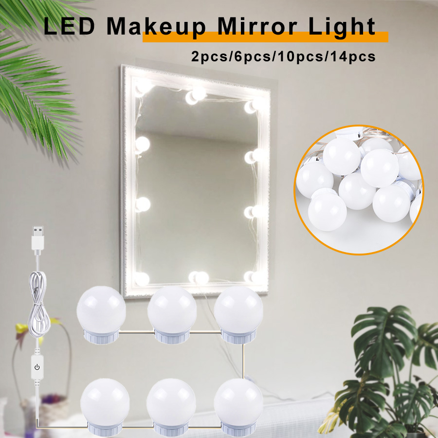 USB LED 5V Makeup Lamp Wall Light Beauty 2 6 10 14 Bulbs Kit For Dressing Table Stepless Dimmable Hollywood Vanity Mirror Light 1