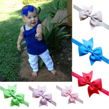 baby girl headband Infant hair newborn Headwear tiara headwrap Hair Accessories Toddlers Ribbon Kid Flower bow turban Solid Band(China)