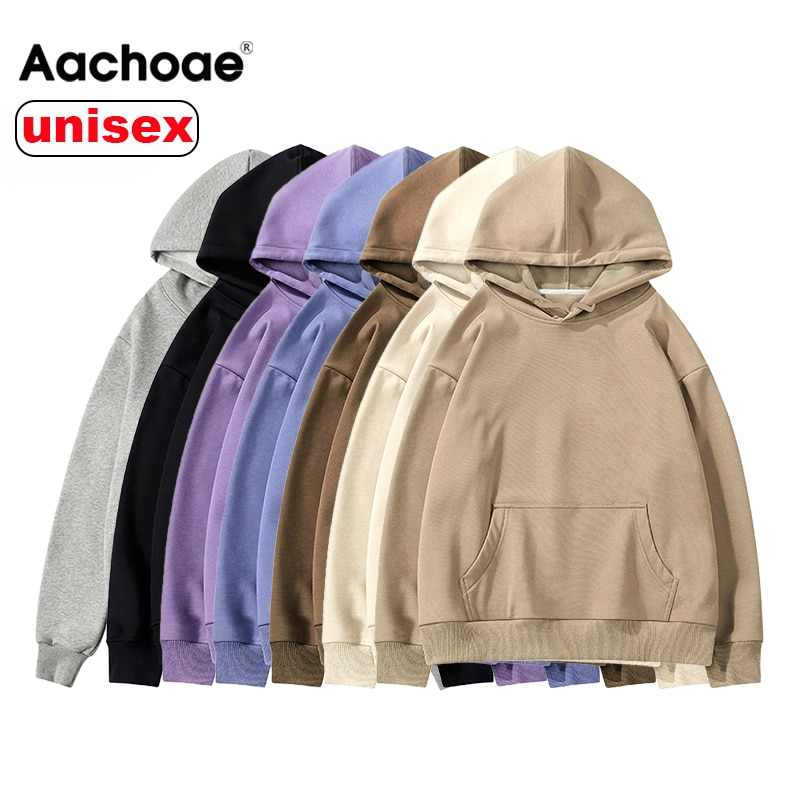 Aachoae Women Unisex Couple Hoodies Sweatshirt Fleece 100% Cotton Tracksuit Sweatshirt 2020 Winter Casual Loose Jumper Plus Size