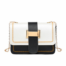 Embroidered Chain 2019 Autumn New Womens Bag Korean Version of The Shoulder Color Contrast Messenger