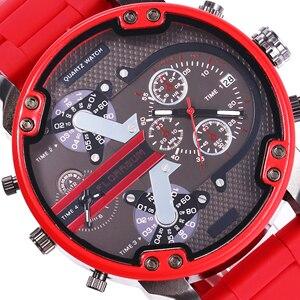 Reloj rojo grande para hombre, pantalla Dual Digital, creativo, esfera de 2 ojos falsa, Hodiny banda de acero, reloj del ejército para hombre DZ, relojes de marca China 7370