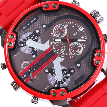 Big Red Watch Men Digital Dual Display Creative Fake 2-eyed Dial Hodiny Steel Band Army Man DZ Watch 7370 Chinese Brand Watches