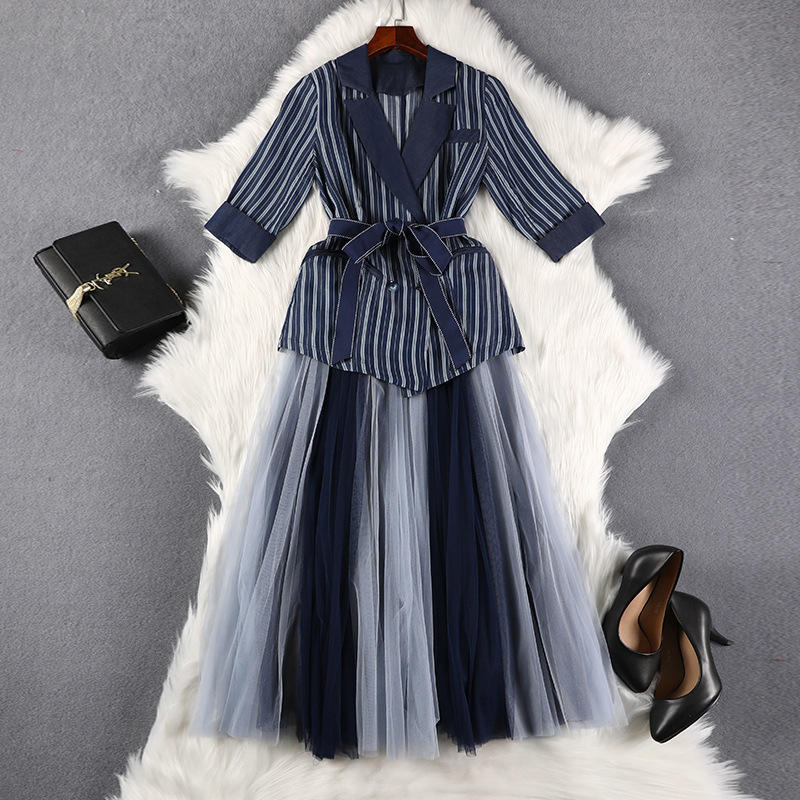 Lan Mu Square Large Size Dress 2019 Autumn Clothing Suit Jacket Dress Two-Piece Set Slimming Large GIRL'S Mm7975