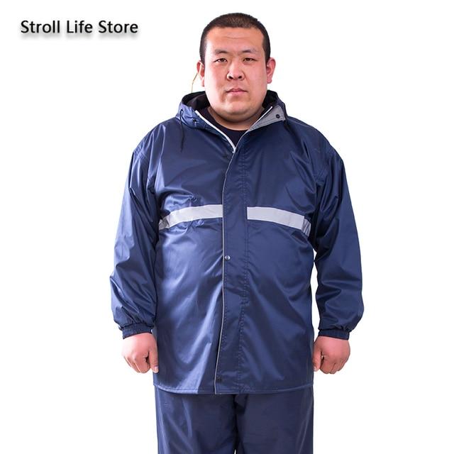 Large Plus-size Raincoat Men Rain Pants Set Double-Layer Fat Man Raincoat Waterproof Suit for Fishing Hiking Capa De Chuva Gift 1