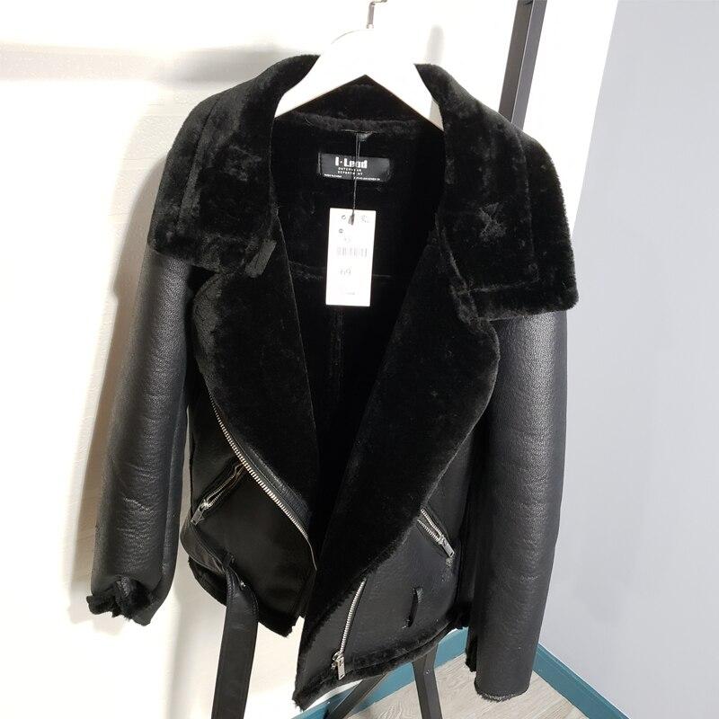 Winter Sheepskin Coats Women Thicken Faux Leather Fur Coat Female Fur Lining Leather Jacket Aviator Jacket