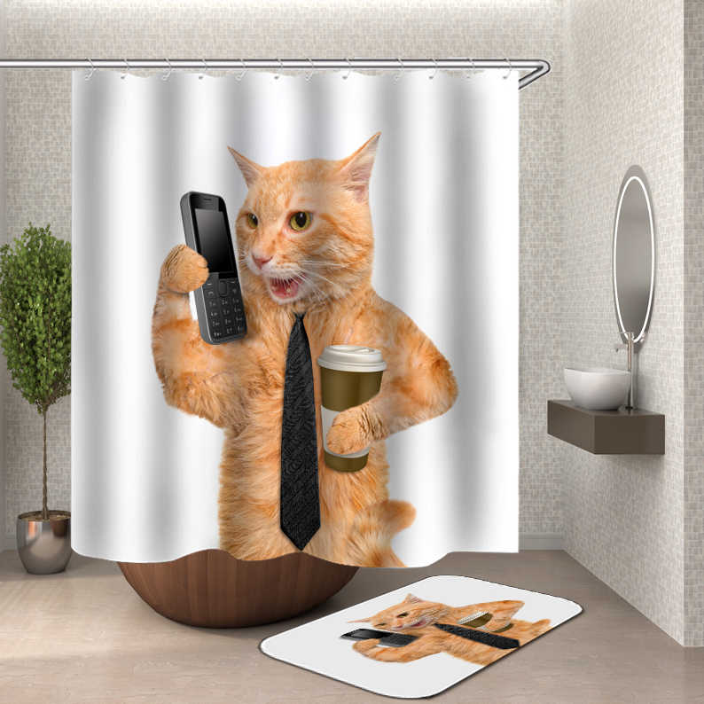 Cute Shower Curtain Cat Dog bath Shower Curtains 3D bathroom Curtain Waterproof Polyester Fabric Shower Curtain Or Mat