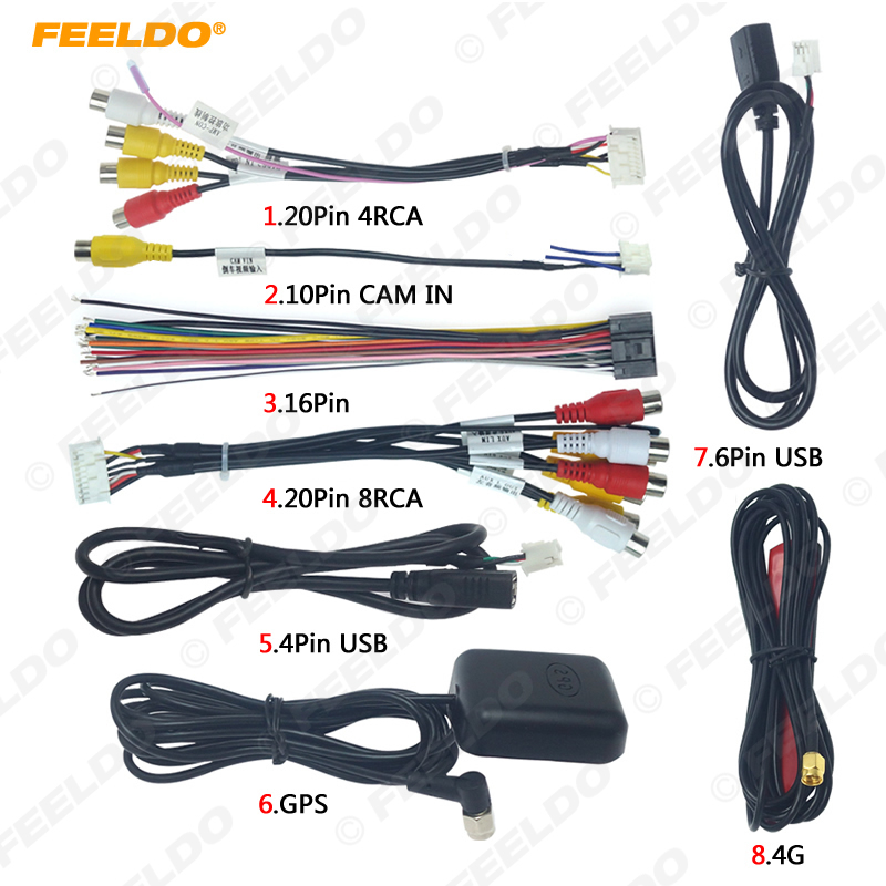 FEELDO Car Head Unit Stereo Wire Harness Kits Compatible For XY AUTO Android Solution Interface RCA USB Audio And Video Cable