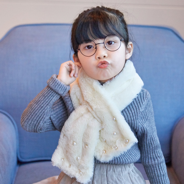 New Style Autumn And Winter Solid Color Children Baby Plush Scarf Korean-style Pearl Thick Warm Cross Men And Women Children Sca