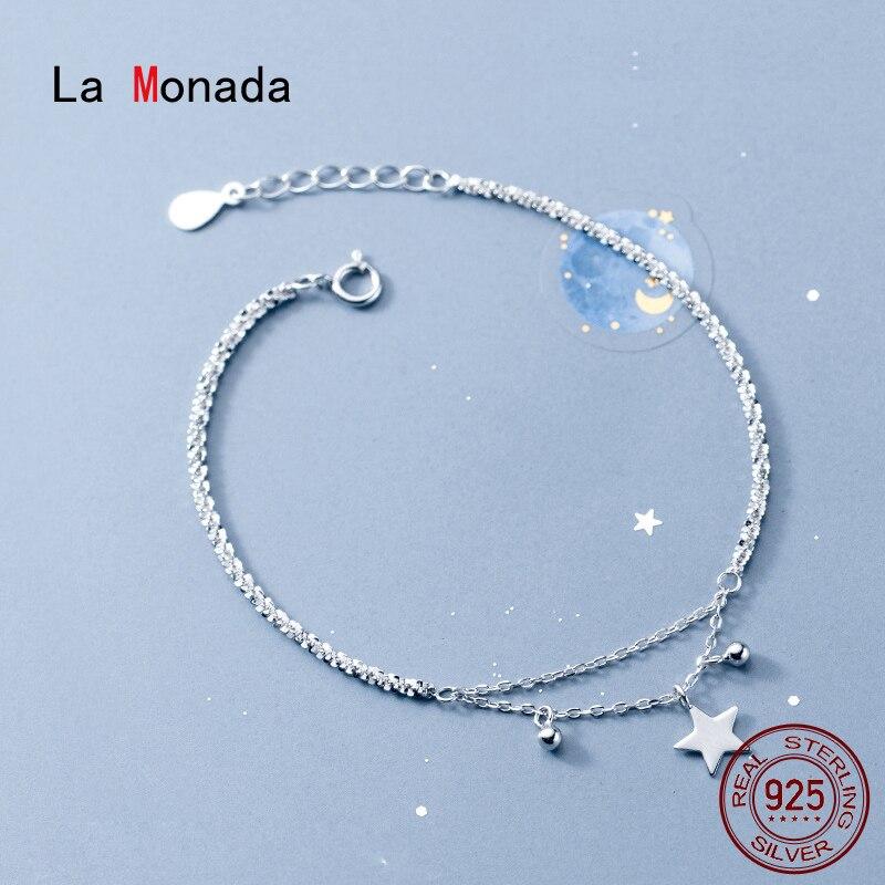 La Monada Bracelets For Women Silver 925 Sterling Silver Fine Star Silver 925 Jewelry Bracelet Double Chain Women's Bracelet