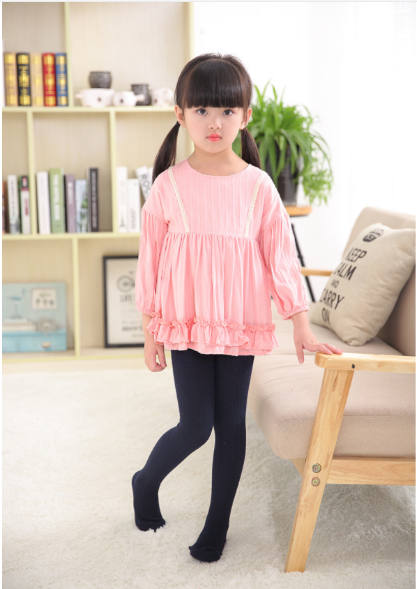 VEENIBEAR Warm Spring Cotton Girl Tights Solid Color Knitted Tights Kids Children Pantyhose Baby Stockings 3-10 T 4