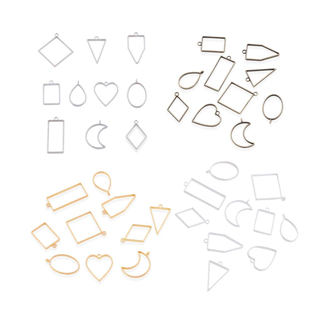 10Pcs Geometric Metal Pendant Frames Set DIY Pendant Making Epoxy Resin UV Crystal Molds Heart Square Moon For Jewelry Necklace