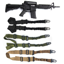 Airsoft 2 Points Gun Sling Strap Mount Hunting Heavy Duty Rifle Sling Gun Belt Strap Adjustable Tactical Bungee System Kit tactical hunting gun sling adjustable 1 single point bungee rifle sling strap system new 3 colors