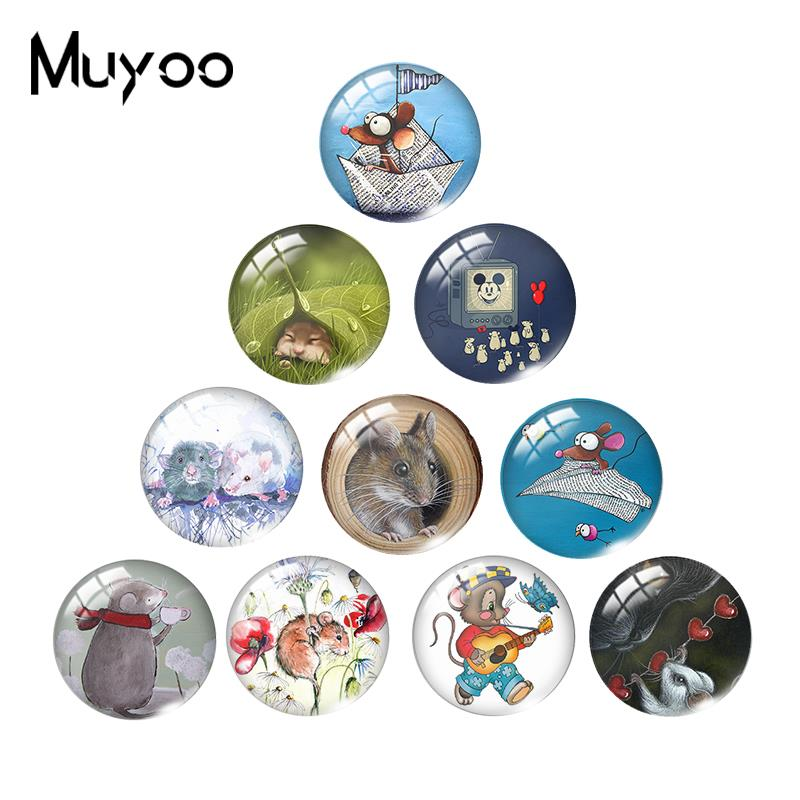 2019 New Funny Cartoon Mouse Glass Dome Cabochon Mouses Art Cabochons Hand Craft Photo Jewelry