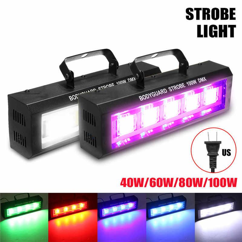 "LED Strobe מהבהב תאורה 40/60/80/100W אפקט תאורת DMX512 בר דיסקו DJ KTV קול הופעל מנורת ארה""ב Plug"
