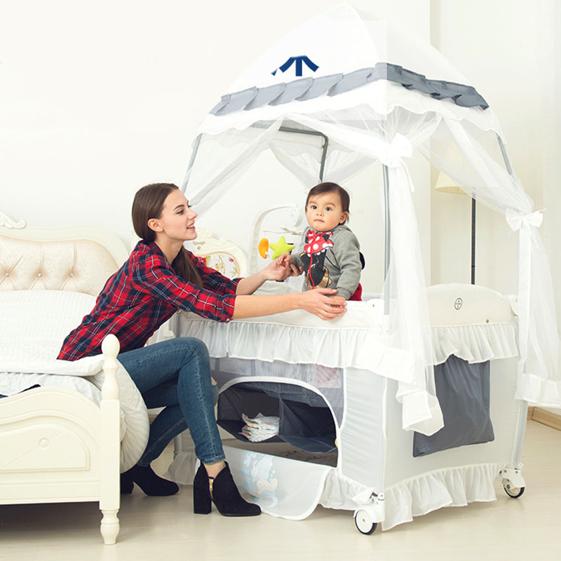 Baby Cot Game Bed Baby Crib Diaper Table Multifunctional Foldable Portable  With Rollers  Easy To Fold And Travel