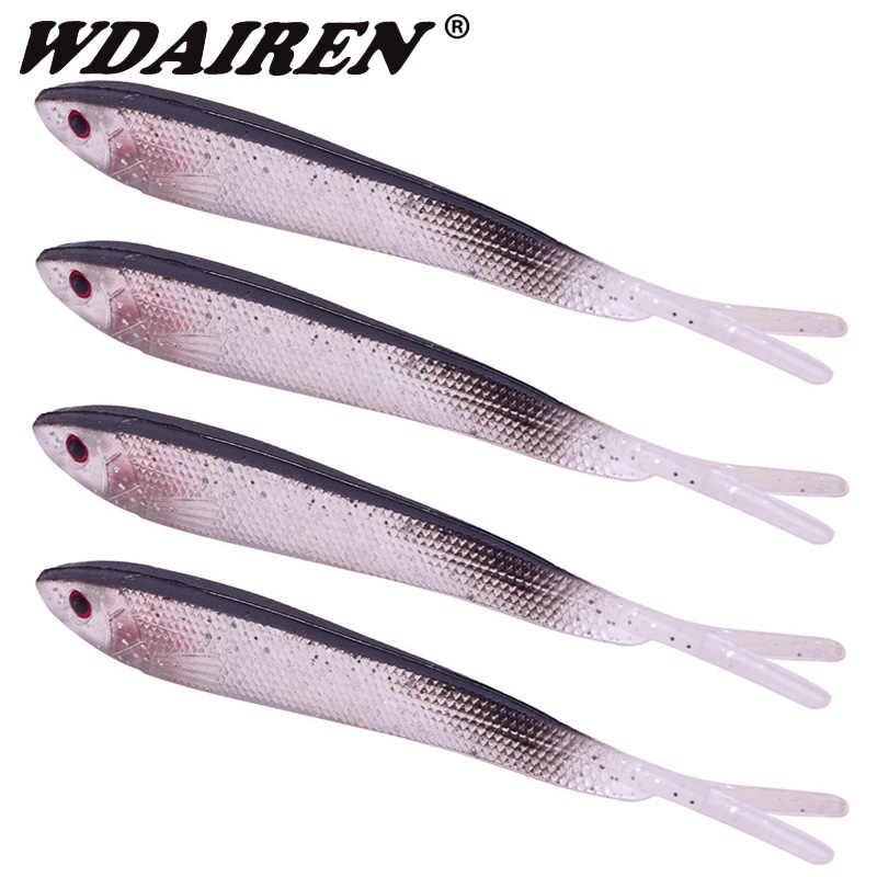Soft Silicone Fishing Lure 80mm//2.2g Artificial Minnow Baits Bass Fishing Tackle
